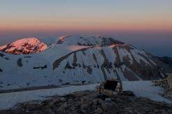 Majella mountain range at sunset, seen from the summit of Mt. Amaro