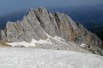 Corno Piccolo and Rifugio Franchetti (seen from the rim of the Calderone glacier)