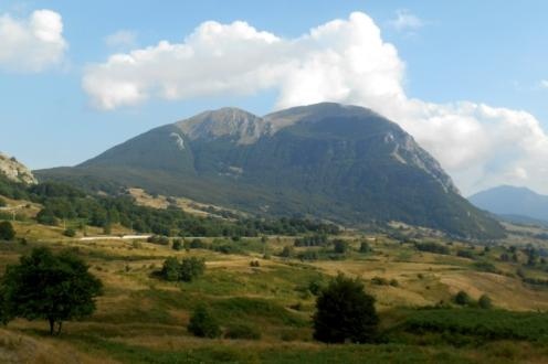 Monte Alpi, from the north (Santa Croce, left, and Pizzo Falcone, right)