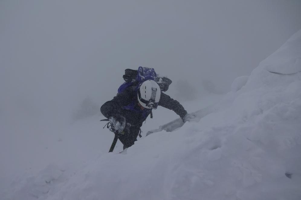 Just beneath the summit ridge
